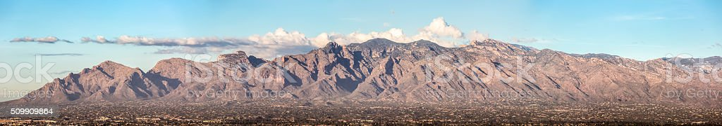 Santa Catalina Mountains Miniaturize the Foothills Below stock photo