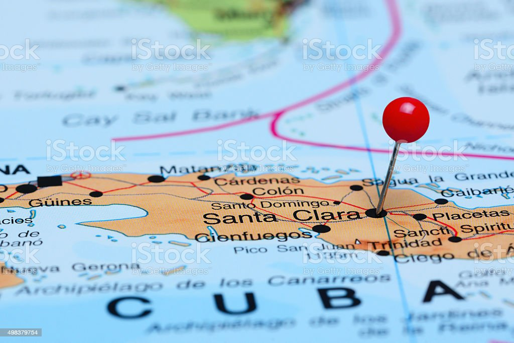 Santa Clara pinned on a map of America stock photo