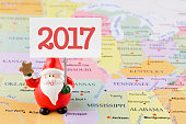Santa Claus 2017 on the USA map
