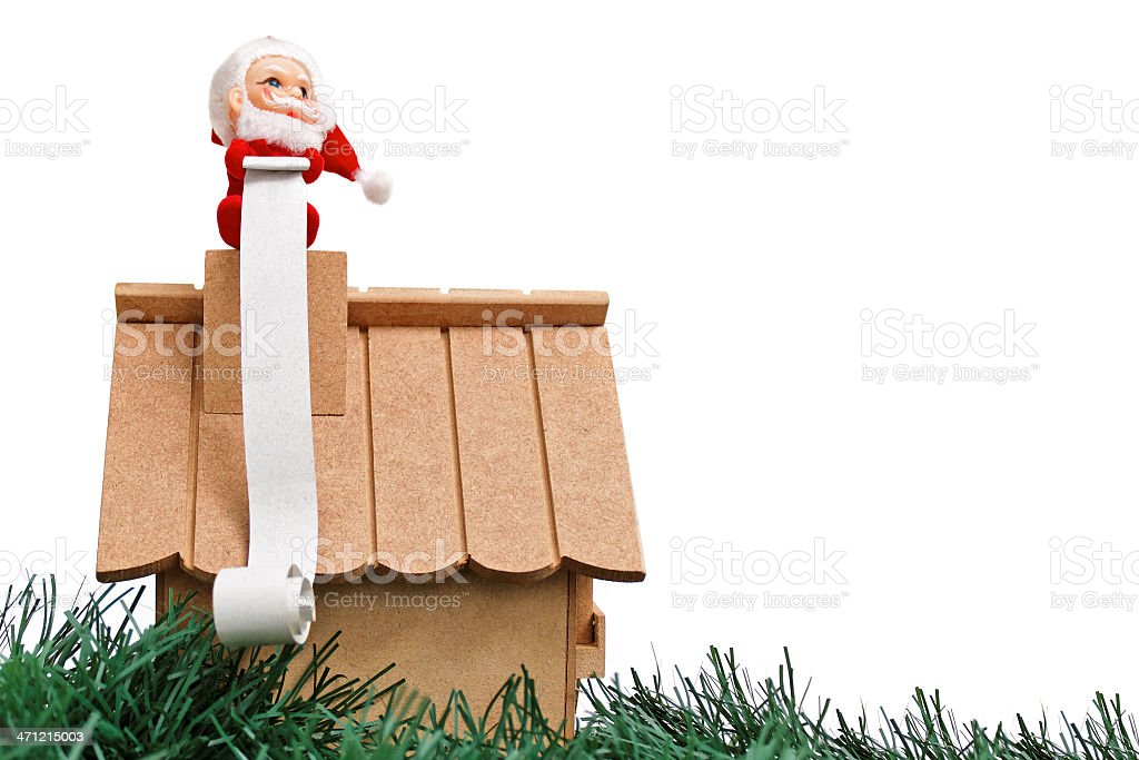 Santa Claus and a wish list royalty-free stock photo