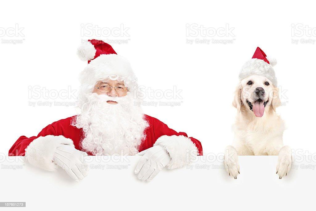 Santa Claus and dog posing behind a billboard stock photo