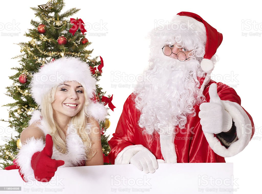 Santa claus and girl holding banner. royalty-free stock photo