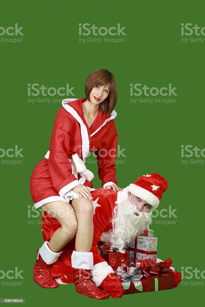 Santa Claus and Snow Maiden stock photo