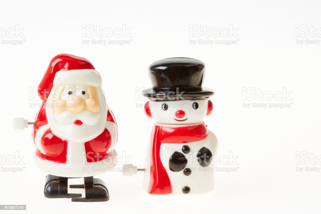 Santa Claus and Snowman stock photo
