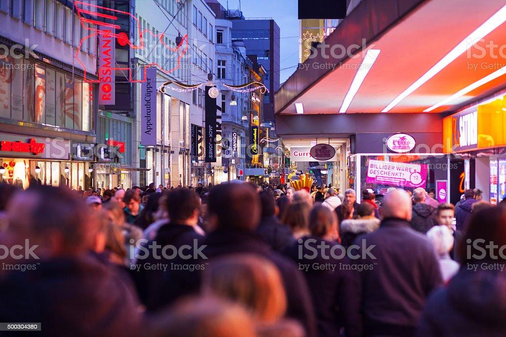 Santa Claus and xmas shopping in Dortmund stock photo