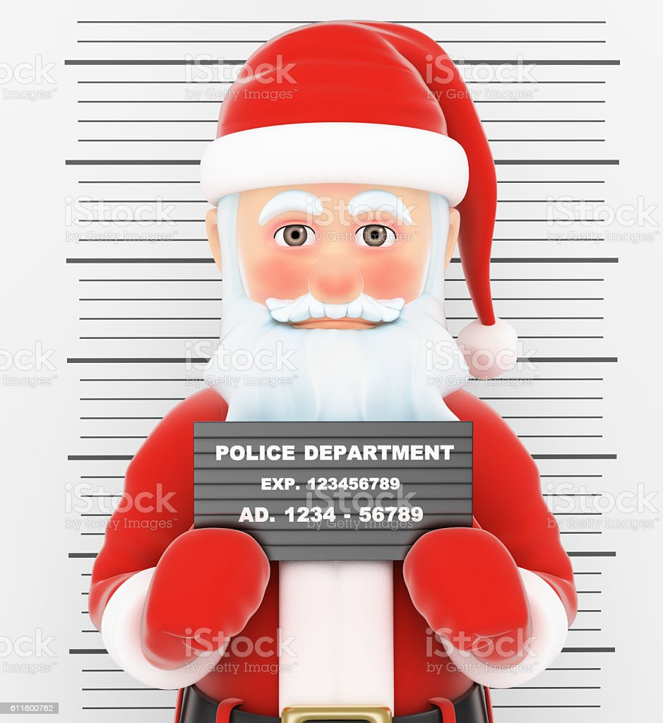 3D Santa Claus arrested. Criminal police photo vector art illustration