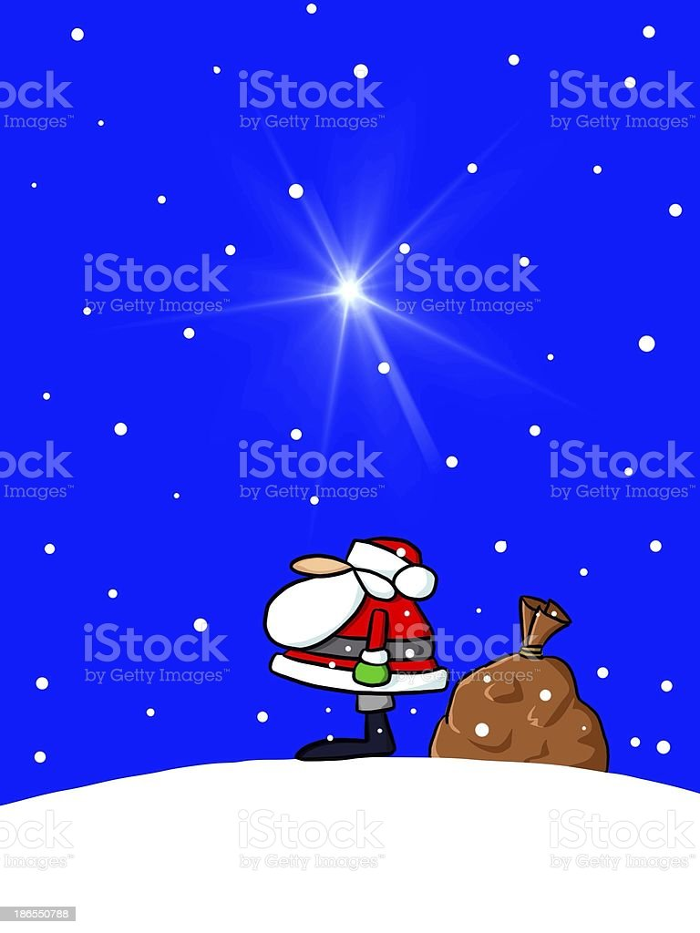 Santa Claus at Christmas with stars and sack of presents royalty-free stock photo