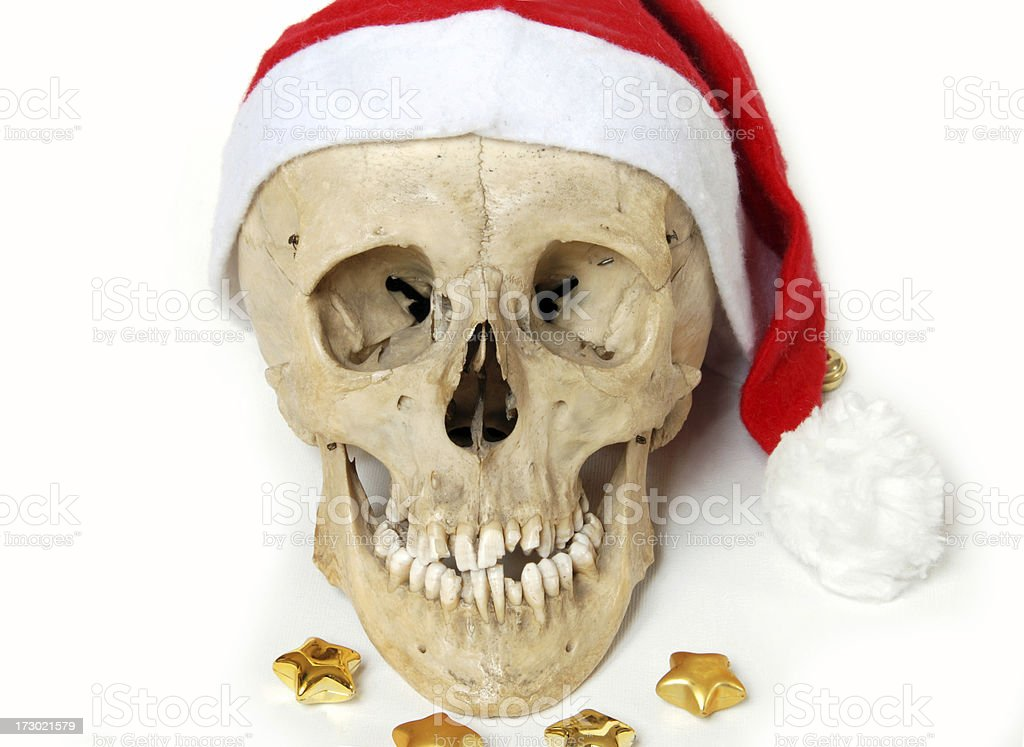 Santa Claus Christmas Skull stock photo