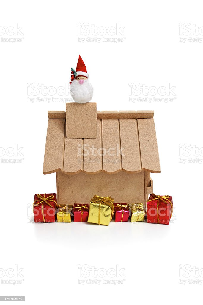 Santa Claus coming from chimney royalty-free stock photo