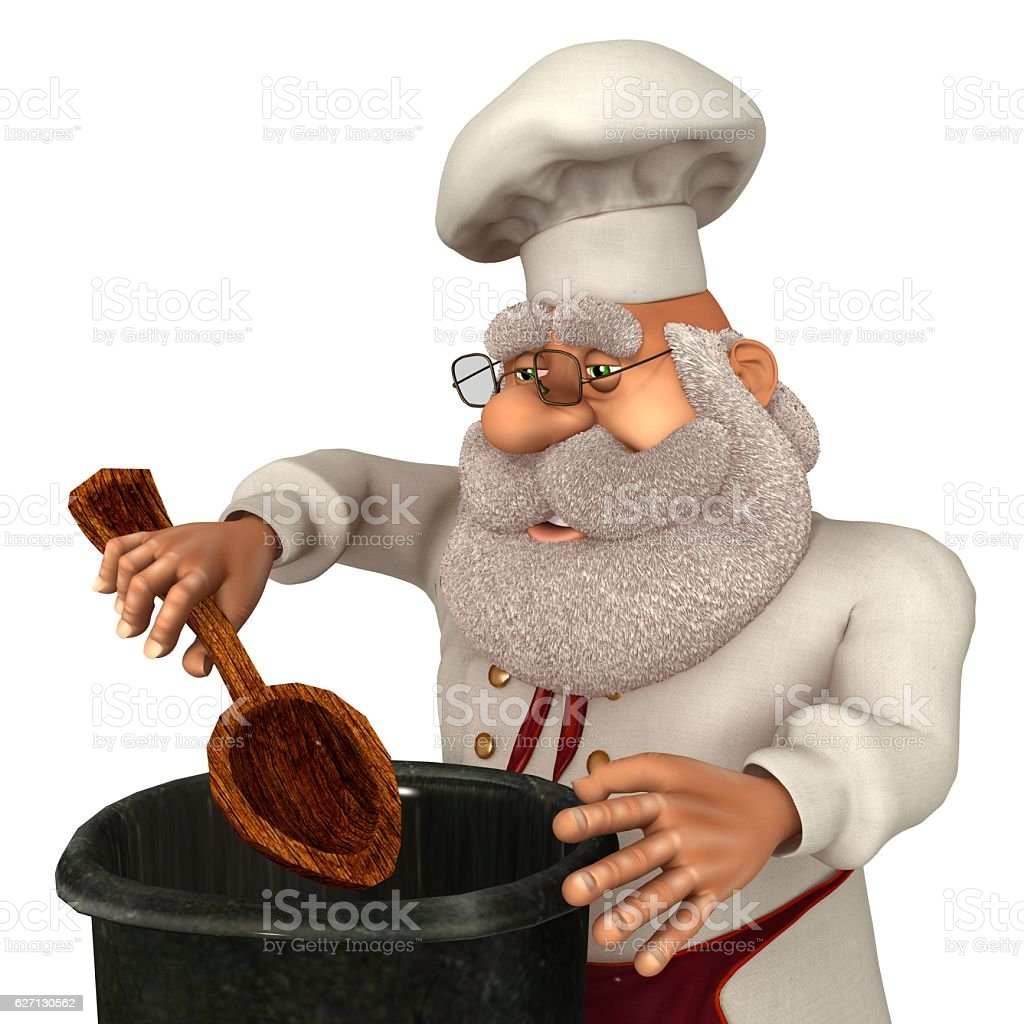 Santa Claus Cook 3D Illustration in Cartoon Stule Isolated On stock photo