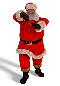 Santa Claus Dance 3D Illustration Isolated On White