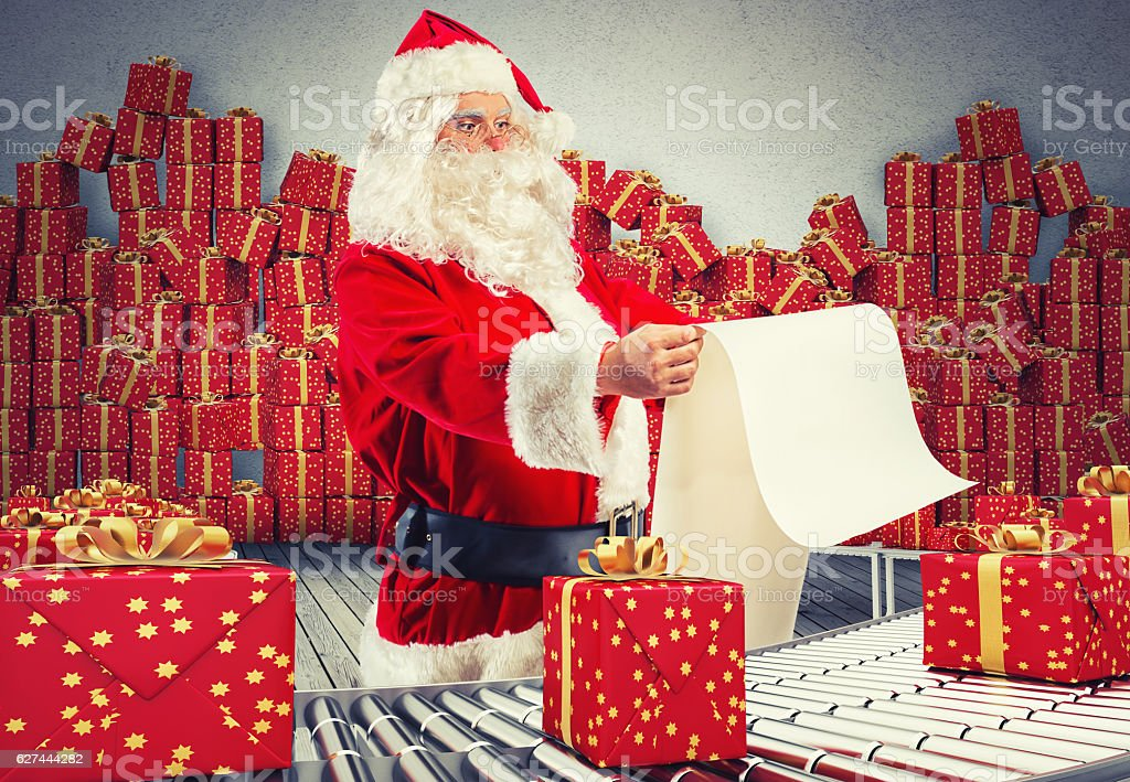 Santa claus factory stock photo