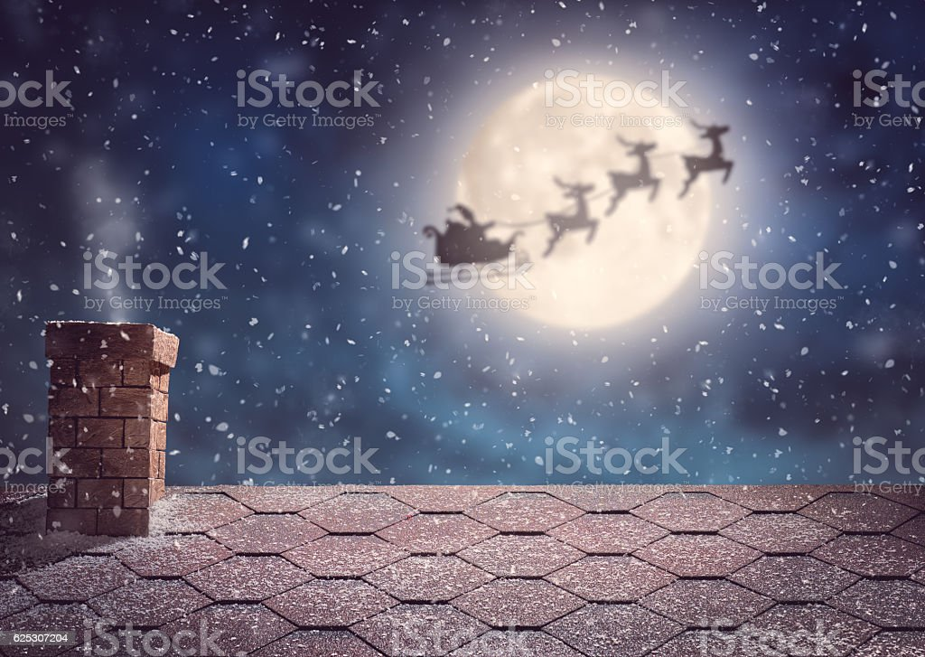 Santa Claus flying in his sleigh stock photo