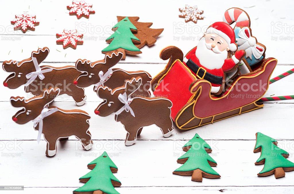 Santa Claus gingerbread cookies stock photo