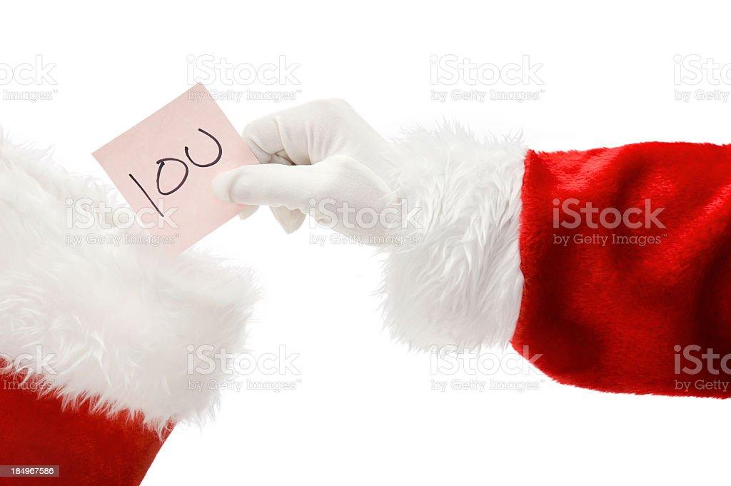 Santa Claus Hand - IOU stock photo