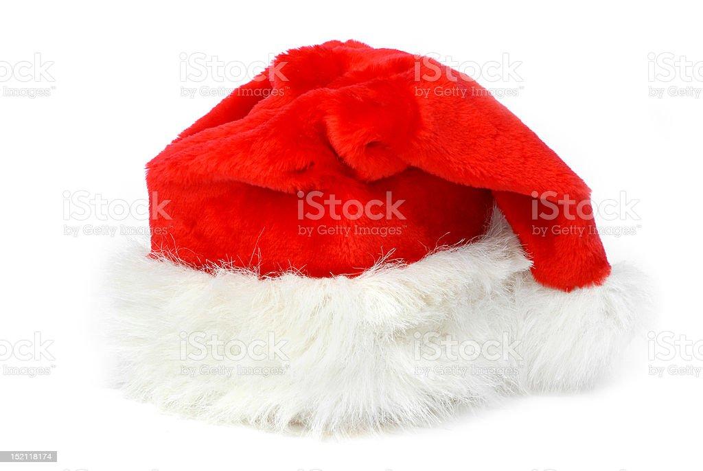 Santa Claus hat on white background royalty-free stock photo