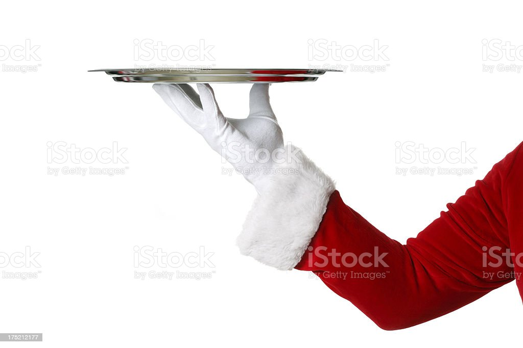 Santa Claus Holding Silver Platter royalty-free stock photo