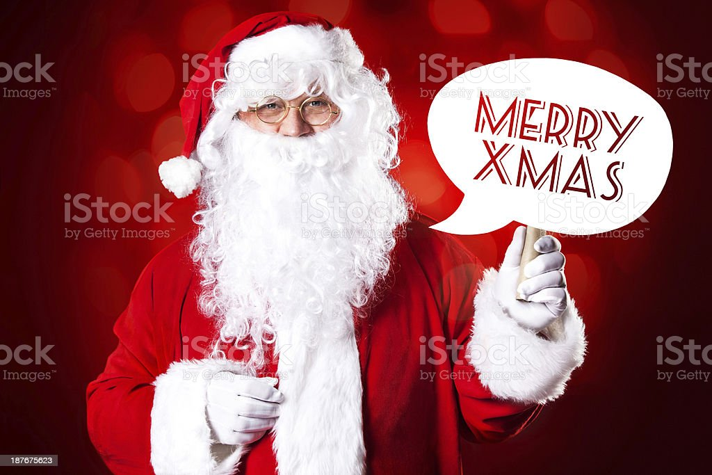Santa Claus holding speech bubble royalty-free stock photo