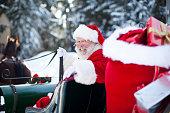 Santa Claus in His Sleigh at North Pole