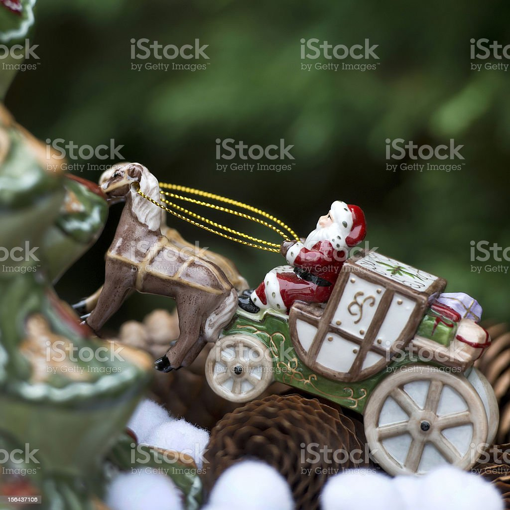 Santa Claus in his sleigh stock photo