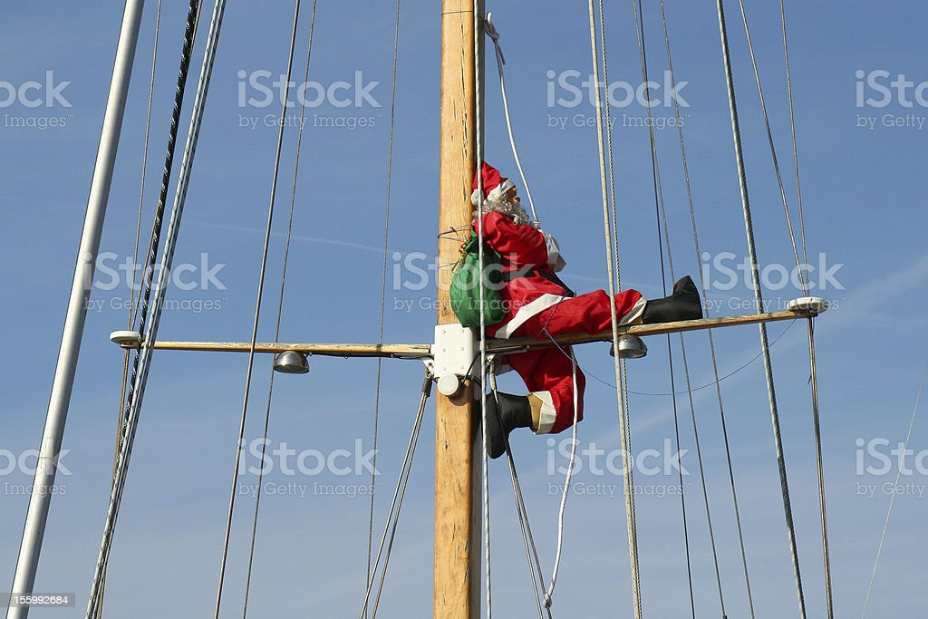Santa Claus leaves in cruise royalty-free stock photo