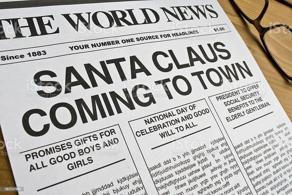 Santa Claus Newspaper Headline royalty-free stock photo
