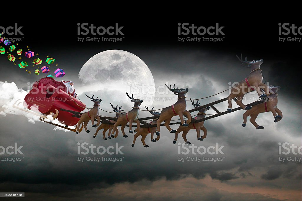 Santa Claus on blue stars stock photo