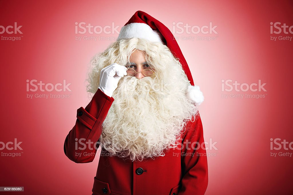 Santa Claus on red background stock photo