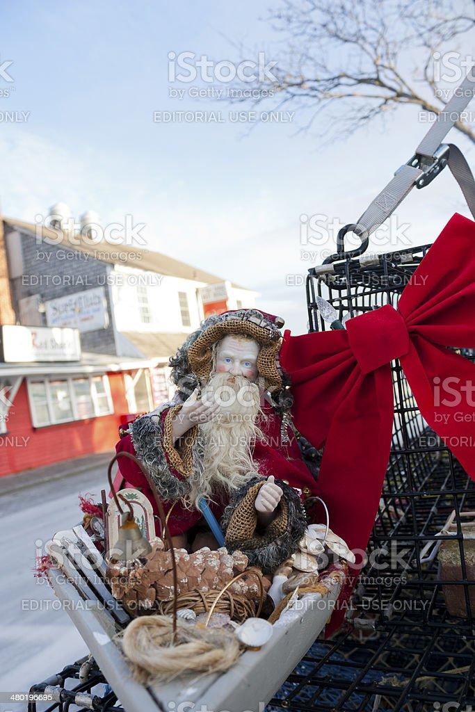 Santa Claus on the Lobster Pot Christmas tree, Provincetown, Massachusetts. stock photo