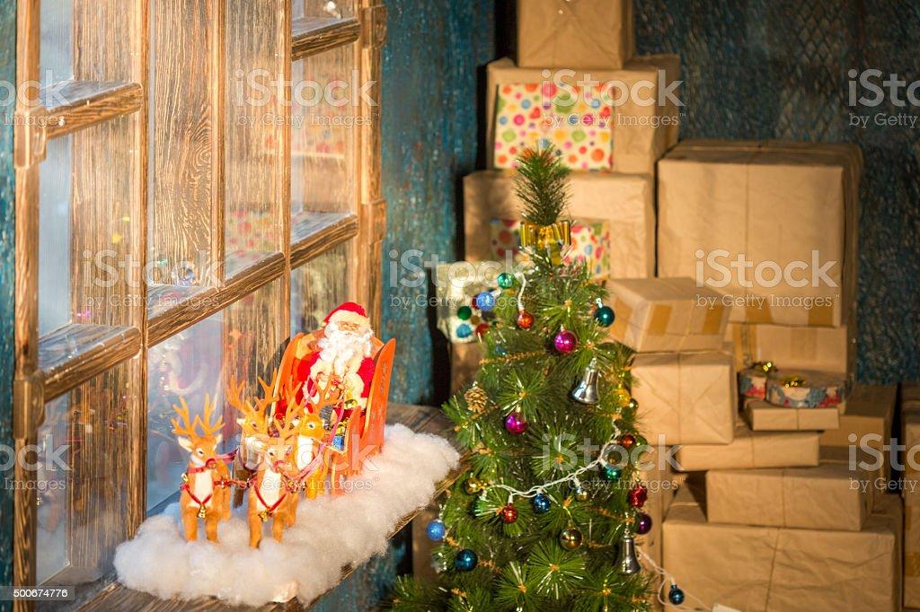 Santa Claus On Window Sill stock photo