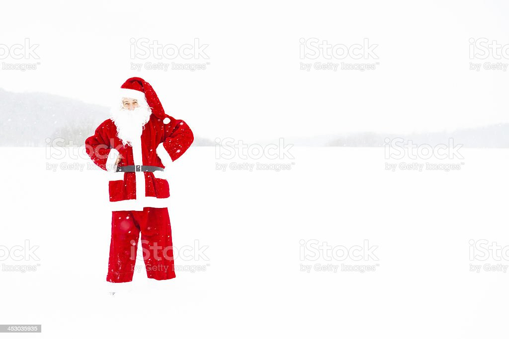 santa claus out in the snow royalty-free stock photo