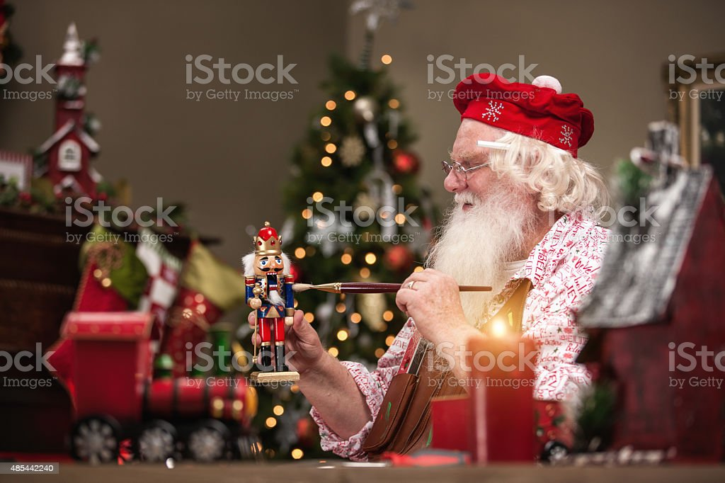 Santa Claus Painting Nutcracker stock photo