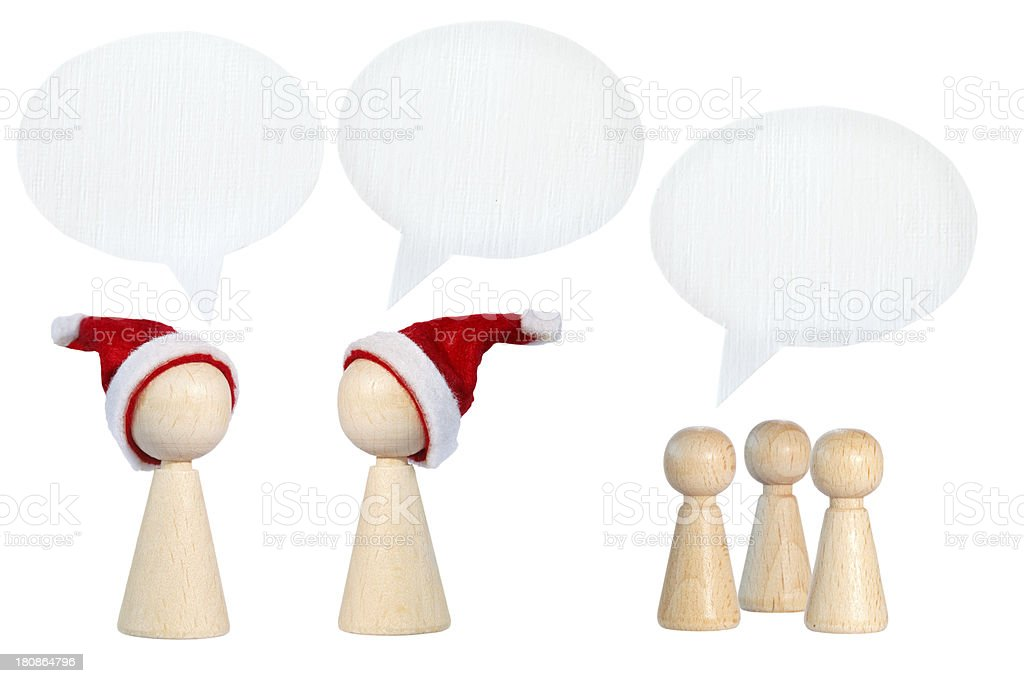 Santa Claus pawns with speech bubbles royalty-free stock photo