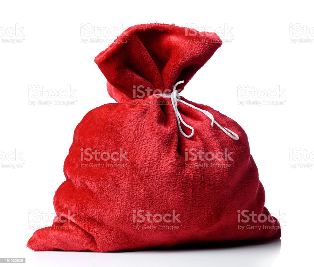 Santa Claus red bag full stock photo