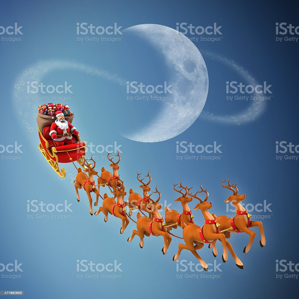 Santa Claus rides reindeer sleigh stock photo