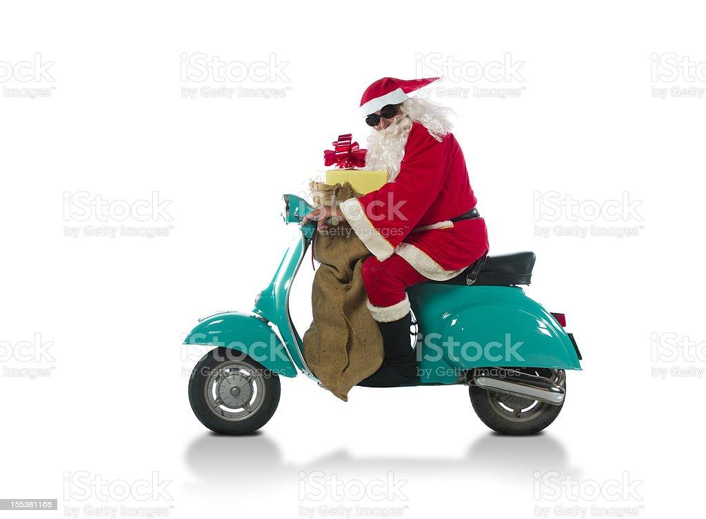 Santa Claus riding on a moto royalty-free stock photo