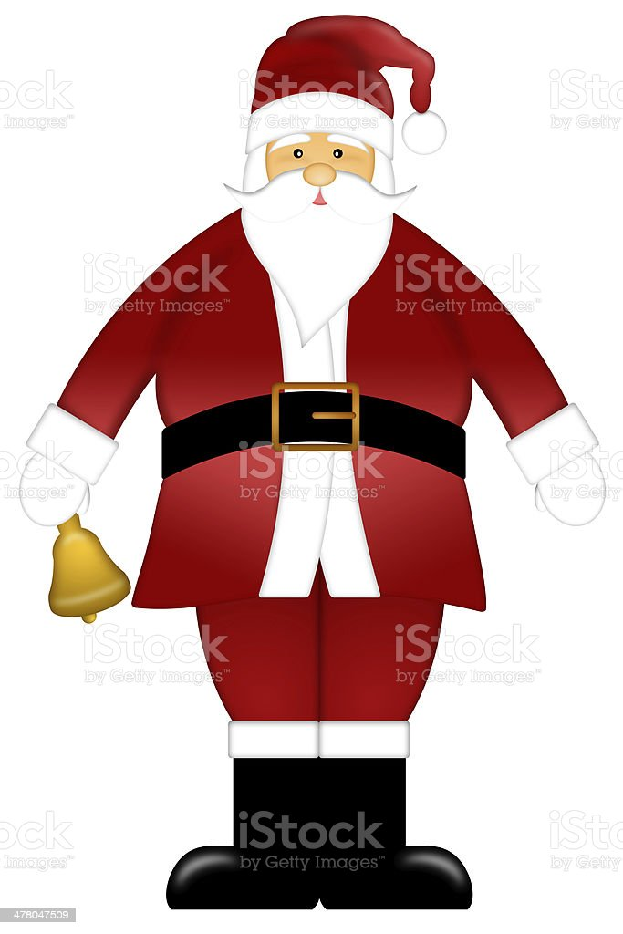 Santa Claus Ringing Bell Clipart Isolated on White Background royalty-free stock vector art