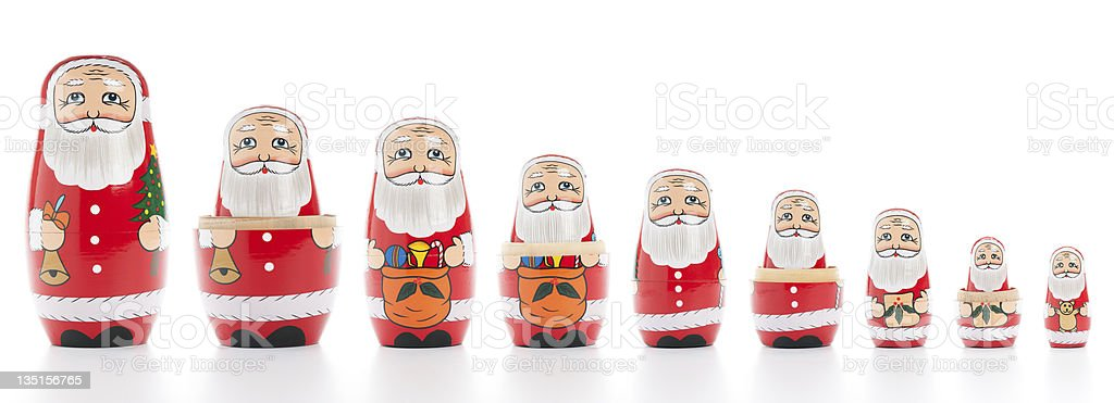 Santa Claus Russian Nesting Dolls royalty-free stock photo