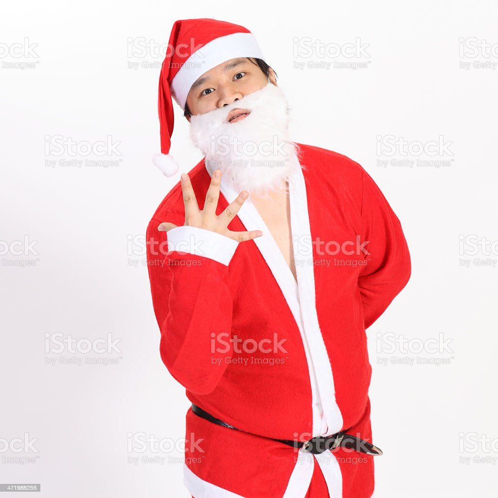 Santa Claus show five finger on overwhite background stock photo
