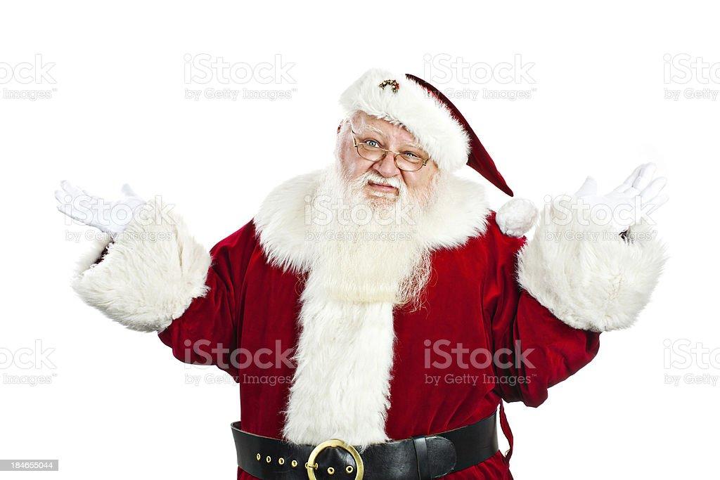 Santa claus shrugging his shoulders stock photo