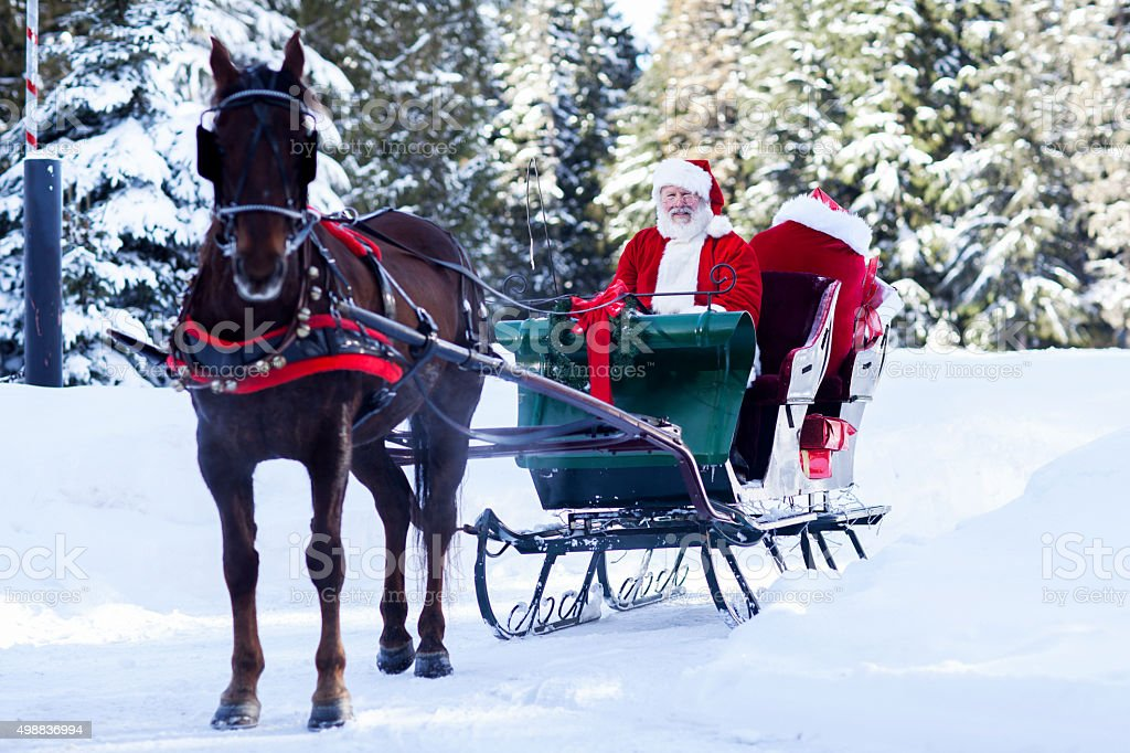 Santa Claus sitting in His Sleigh stock photo