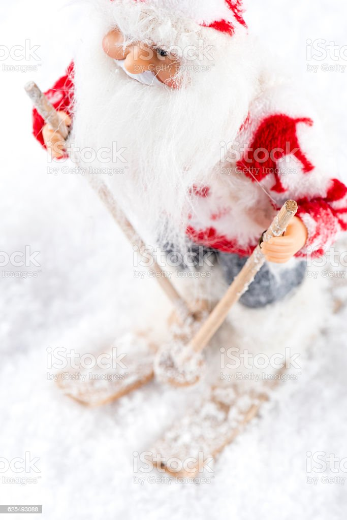 Santa Claus skiing on snow stock photo
