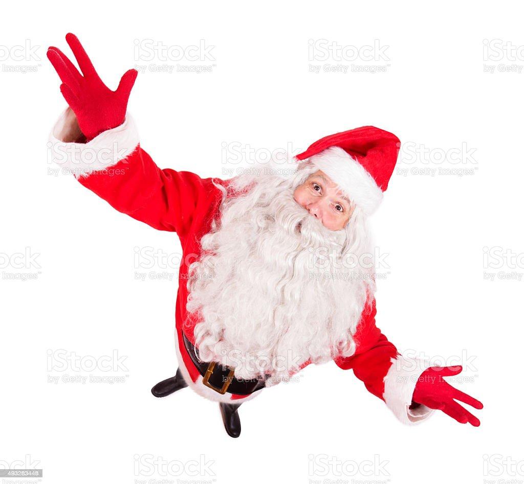 Santa Claus spread his arms wide stock photo