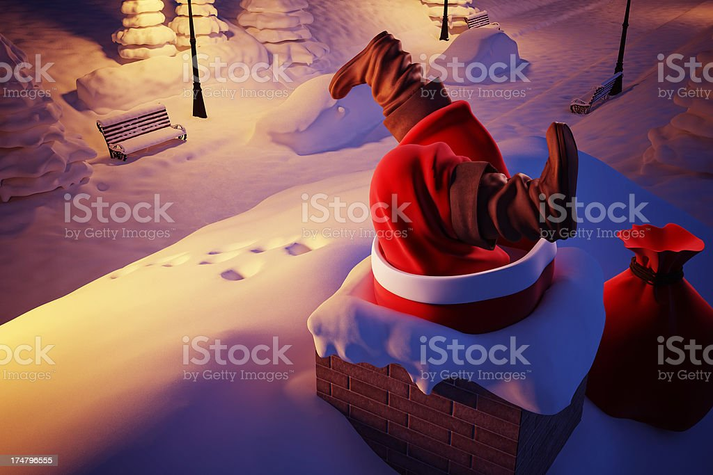 Santa Claus Stucked stock photo