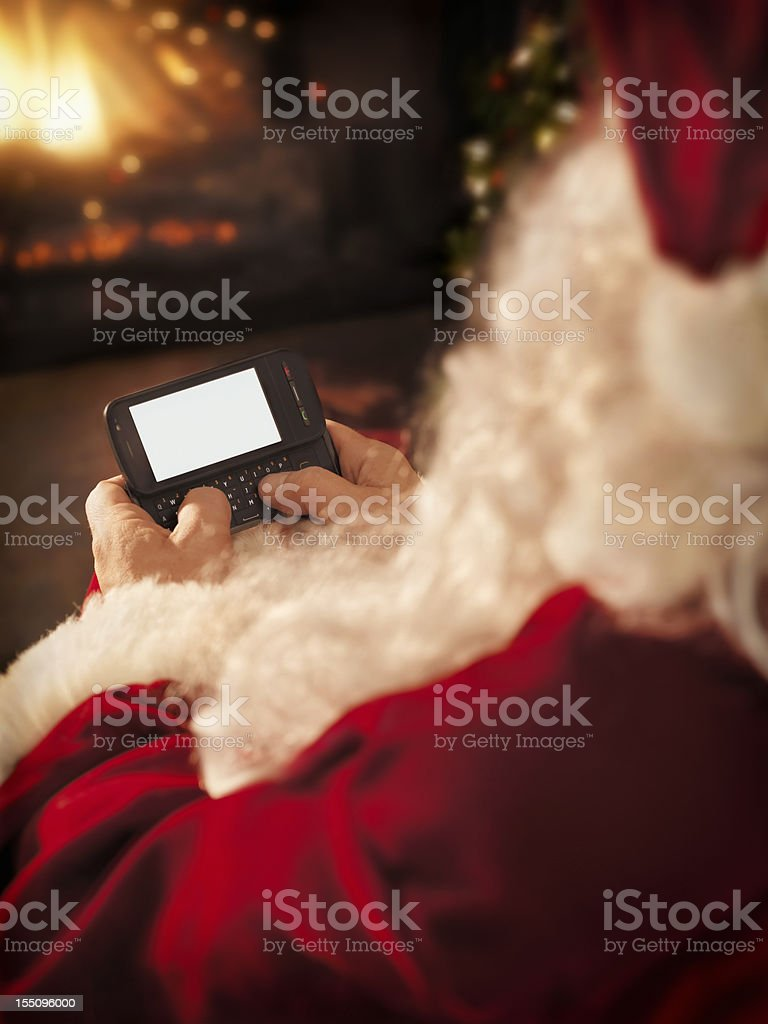 Santa Claus Texting royalty-free stock photo