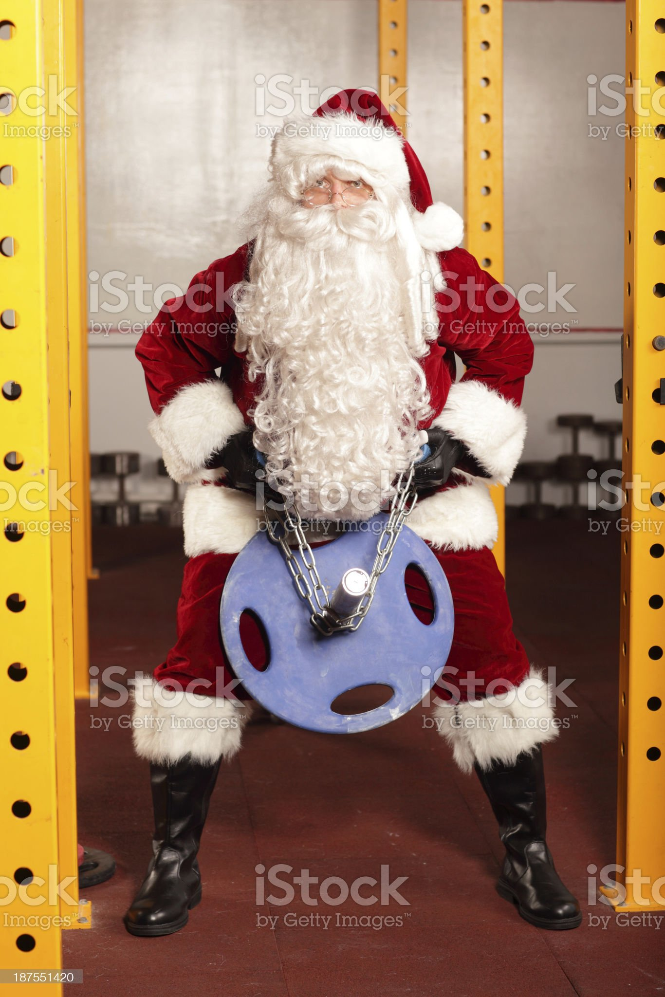 Santa Claus  training before Christams time in gym royalty-free stock photo