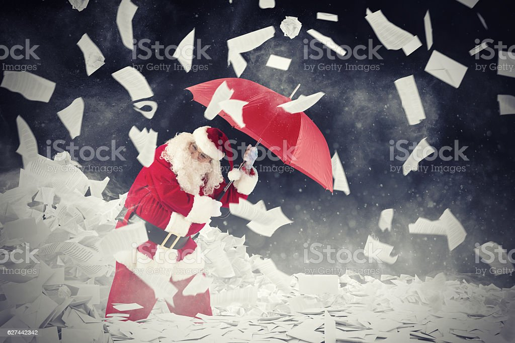 Santa claus vs requested letters gifts stock photo