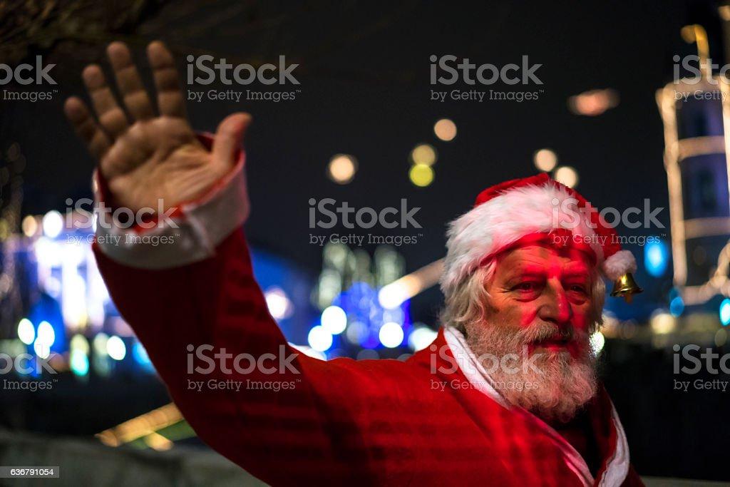 Santa Claus waving with his hand in Ljubljana stock photo
