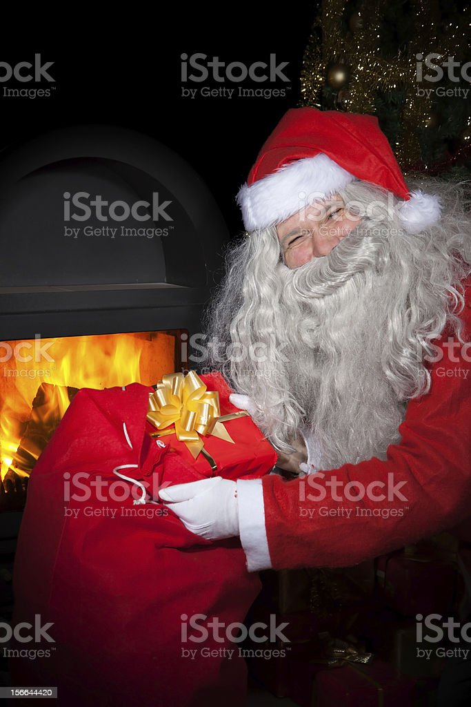 Santa Claus with a bag stock photo