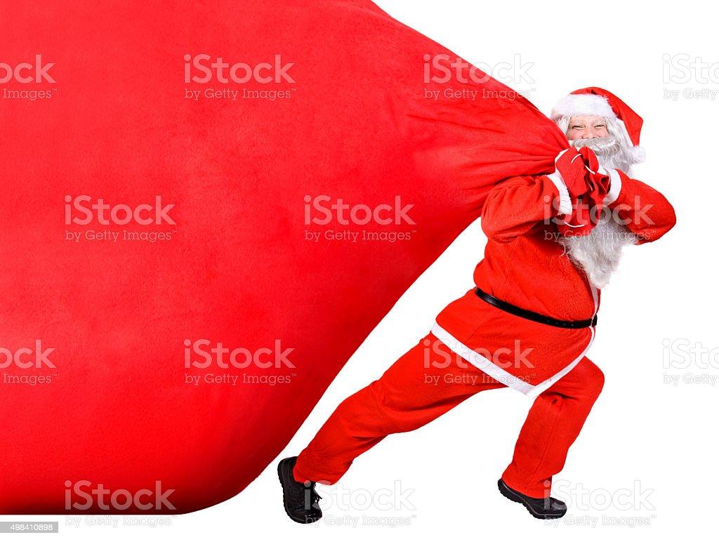 Santa Claus with a big bag stock photo
